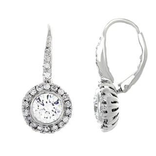Sterling Essentials Sterling Silver Cubic Zirconia Bezel-set Halo Dangle Earrings
