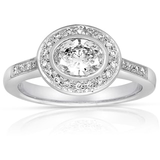 Eloquence 18k White Gold 7/8ct TDW Contemporary Oval Bezel-set Diamond Ring