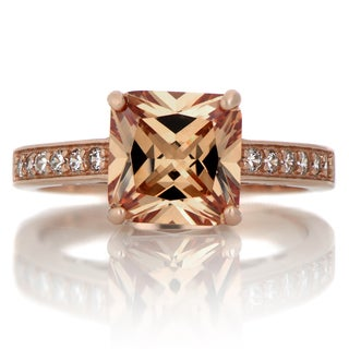 Rose Goldplated Sterling Silver 4ct TGW Champagne CZ Engagement Ring