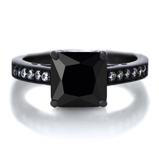 Emitations Black Rhodium-plated Sterling Silver Black Princess-cut Cubic Zirconia Engagement Ring