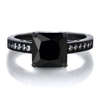 Black Rhodium-plated Sterling Silver Black Princess-cut Cubic Zirconia Engagement Ring