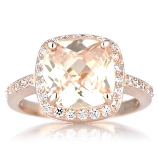 Rose Goldtone Sterling SIlver Cushion-cut Peach Cubic Zirconia Engagement Ring