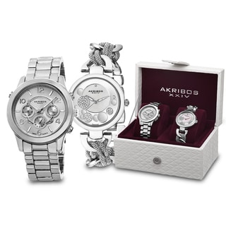 Akribos XXIV Women's Quartz Diamond/Multifunction Bracelet Watch Set