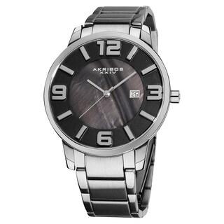 Akribos XXIV Men's Slim Stainless Steel Swiss Quartz Bracelet Watch