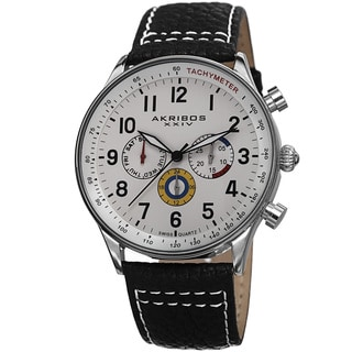 Akribos XXIV Men's Swiss Quartz Multifunction Tachymeter Genuine Leather Strap Watch