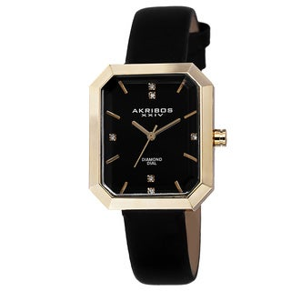 Akribos XXIV Women's Swiss Quartz Genuine Diamond Leather Strap Watch