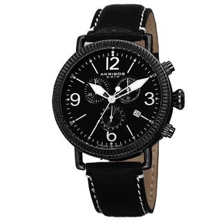 Akribos XXIV Men's Swiss Quartz Chronograph Genuine Leather Strap Watch