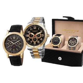 Akribos XXIV Men's Quartz Multifunction Gold-Tone Strap/Bracelet Watch Set