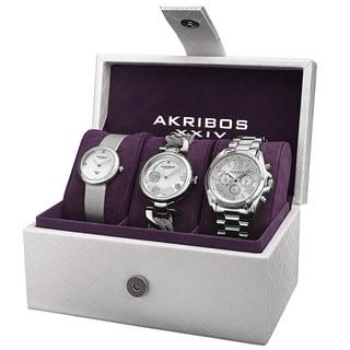 Akribos XXIV Women's Quartz Diamond Multifunction Watch Set