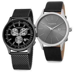 Akribos XXIV Men's Quartz Chronograph Strap/Bracelet Watch Set of 2
