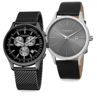Akribos XXIV Men's Quartz Chronograph Strap/Bracelet Watch Set