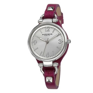 Akribos XXIV Women's Swiss Quartz Decorated Genuine Leather Thin Strap Watch