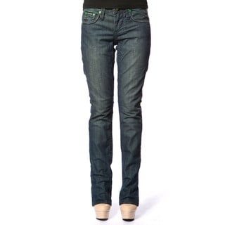 Stitch's Womens Blue Denim Soft Straight Leg Jeans
