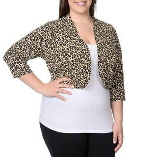 Lennie for Nina Leonard Women's Plus Size Tan Multi Animal Print Shrug