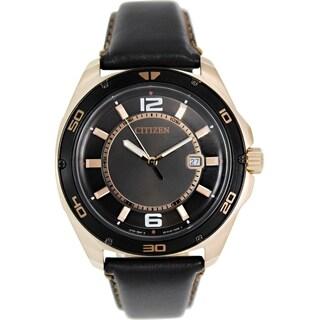 Citizen Men's BK2523-04E Black Leather Quartz Watch