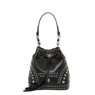 Prada Small Studded Soft Leather Bucket Bag