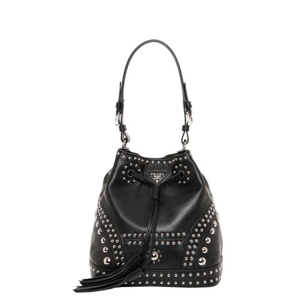 Prada Small Studded Soft Leather Bucket Bag - 16467827 - Overstock ...