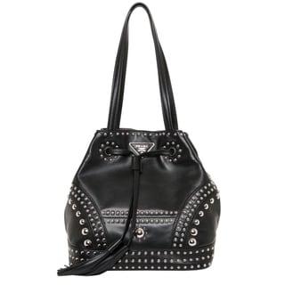 Prada Studded Soft Leather Bucket Bag