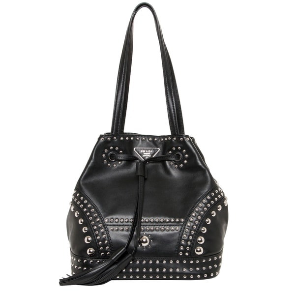 Prada Studded Soft Leather Bucket Bag