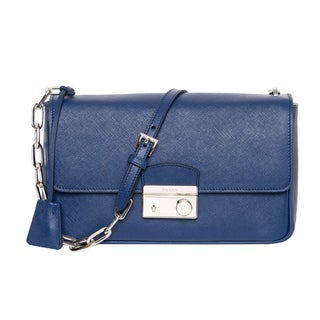 Prada Cobalt Blue Saffiano Leather Flap Bag