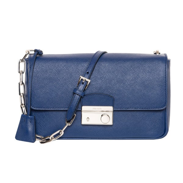 Prada Cobalt Blue Saffiano Leather Flap Bag - 16467831 - Overstock ...