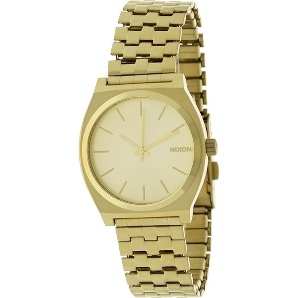 Nixon Men's A045511-00 Quartz The Time Teller Gold-tone Sunray Dial Stainless Steel Watch