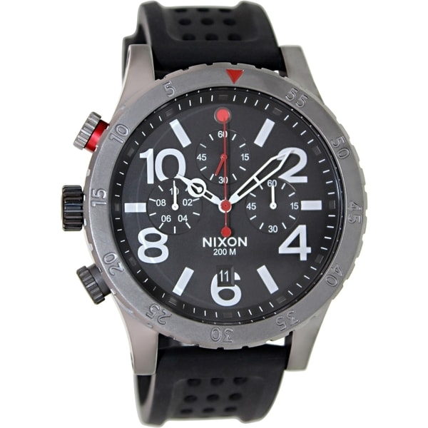 Nixon Men's 48 20 Chrono A2781426 Black Rubber Quartz Watch