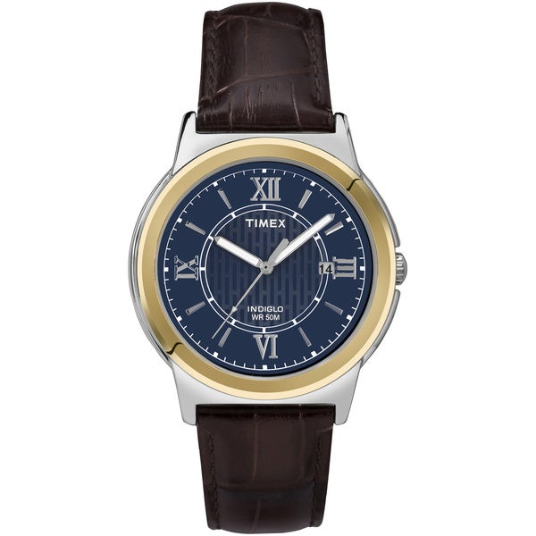 Timex Men's T2P5219J Main Street Dress Blue Dial Brown Leather Strap Watch
