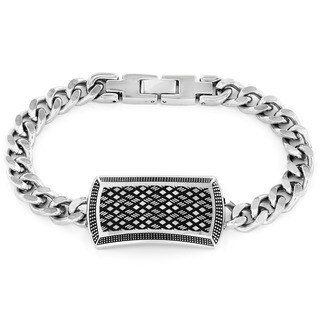 Crucible High Polish Stainless Steel Textured Curb Link ID Bracelet