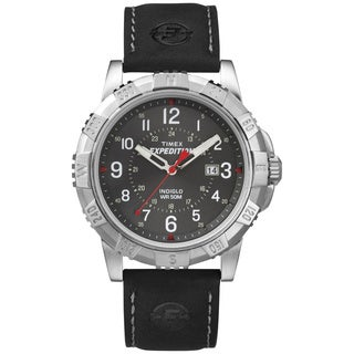 Timex Men's T499889J Expedition Rugged Metal Field Black Leather Strap Watch