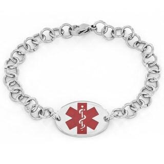 Men's Stainless Steel Oval Medical Alert ID Bracelet