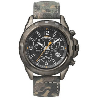 Timex Men's T499879J Expedition Rugged Chronograph Camo Leather Strap Watch