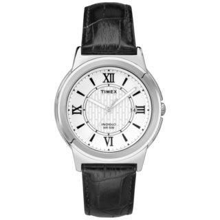 Timex Men's T2P5209J Main Street Dress Black Leather Strap Watch