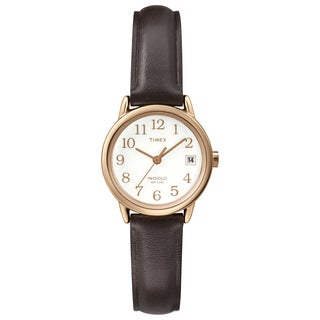 Timex Women's T2P5649J Easy Reader Rose Goldtone Brown Leather Strap Watch