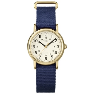 Timex T2P4759J Weekender Mid-size Blue Slip-thru Nylon Strap Watch