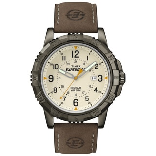 Timex Men's T499909J Expedition Rugged Metal Field Brown Leather Strap Watch