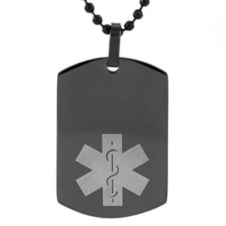 Men's Stainless Steel Black Plated Medical Alert ID Dog Tag