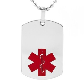 Men's High Polish Stainless Steel Medical Alert ID Dog Tag