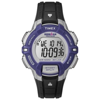 Timex Women's T5K8129J Ironman Rugged 30 Mid-Size Black/Silver-Tone/Purple Watch