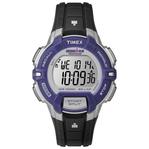 Timex Women's T5K8129J Ironman Rugged 30 Mid-Size Black/Silver-Tone/Purple Watch