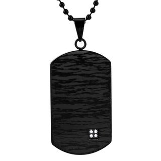 Crucible Stainless Steel Blackplated Laser Etched Design Cubic Zirconia Dog Tag Pendant