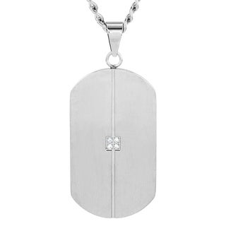 Crucible Men's Stainless Steel Grooved Cubic Zirconia Dog Tag Pendant Necklace