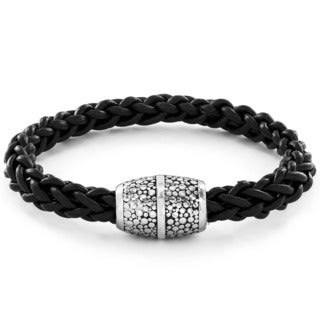 Crucible Men's Black Braided Leather and Stainless Steel Bracelet