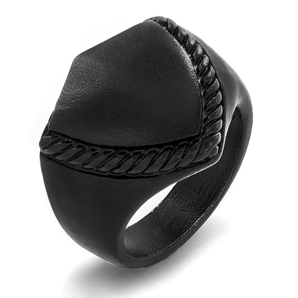 Crucible Black-plated Matte Stainless Steel Shield Ring