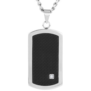 Crucible Stainless Steel Black Carbon Fiber Inlay and Cubic Zirconia Dog Tag Pendant Necklace