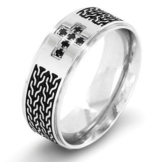 Crucible Stainless Steel Double Zipper Inlay and Black Cubic Zirconia Cross Ring