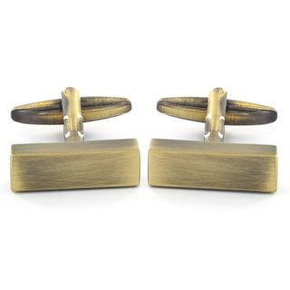 Men's Antiqued Bronze-tone Rectangle Bar Cuff Links