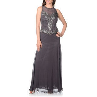 J Laxmi Women's Sheer Yoke Beaded Sequin Bodice Evening Gown