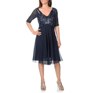 J Laxmi Women's Sheer Elbow Sleeve Beaded Sequined Cocktail Dress