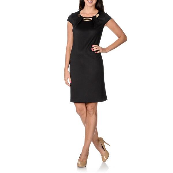 Sandra Darren Women's Black Hardware Neckline Shift Dress